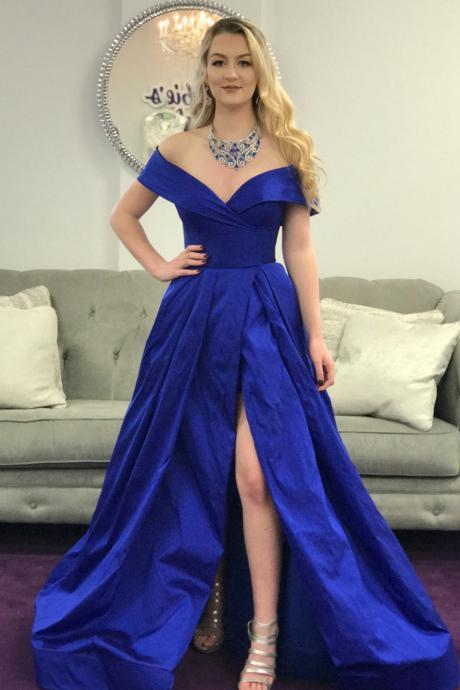 Simple A-Line Off-Shoulder Royal Blue Satin Long Prom/Evening Dress with Split-Front