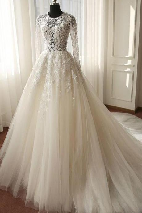 Long Sleeve Illusion Bodice Tulle Ball Gown Wedding Dress with Lace Applique