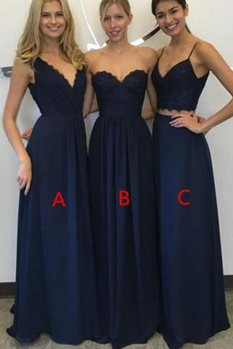 simple bridesmaid dresses,navy blue bridesmaid dresses,lace bridesmaid dresses,two piece prom dresses,wedding party gowns from SexyPromDress