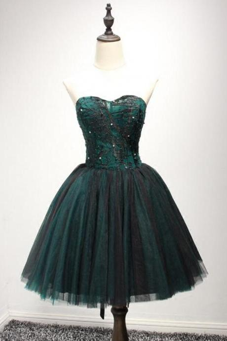 Dark Green Ball-gown Sweetheart Short Tulle Homecoming Dress With Beading