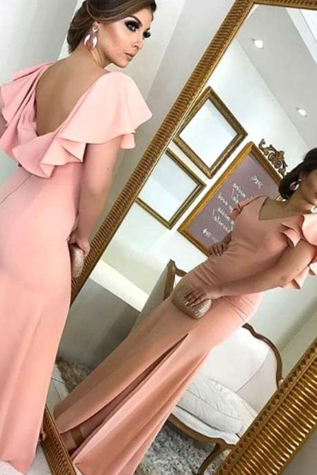 V Neck Sheath Blush Pink Long Prom Dress Jersey Formal Evening Gown