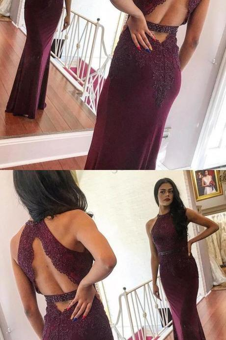 Mermaid Jewel Open Back Burgundy Prom Dress with Appliques