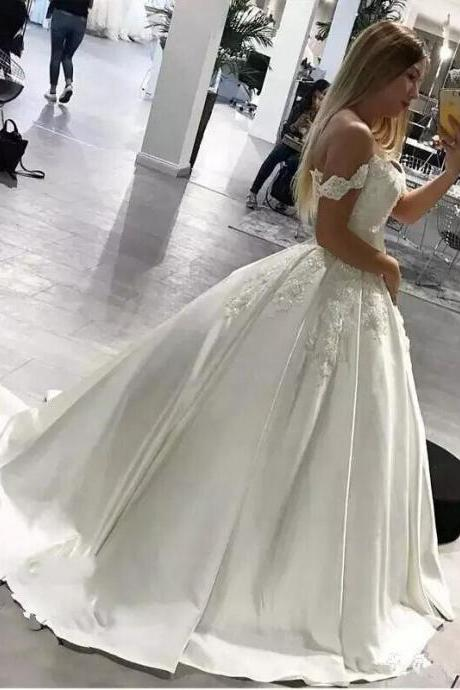 New Design Sequins Beaded Lace Wedding Dresses Off Shoulder Satin Court Train Applique Bridal Gowns Wedding Dress Custom Made