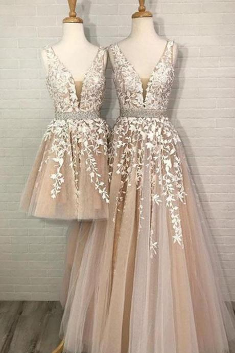 Champagne Tulle V-neck Homecoming Dresses Lace Embroidery Beaded Prom Short Dress For Party