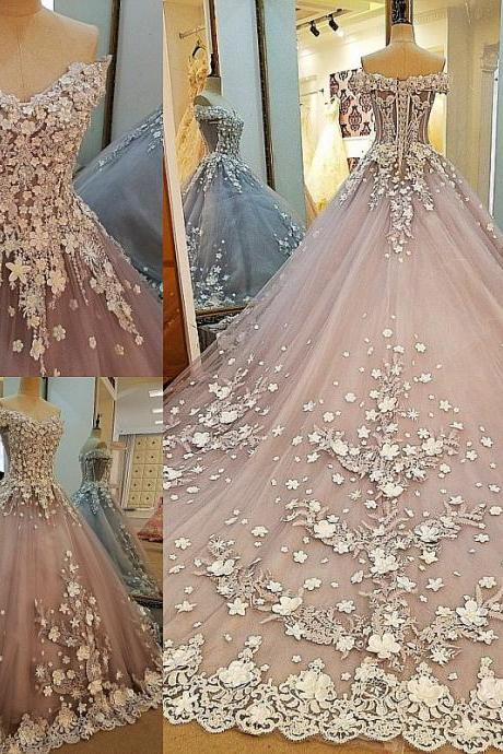 Sweetheart 3D flowers Long Prom Dress,2018 Vestido De Festa Longo Evening Dress Party Gown,Sweet 16 Dress,Luxury Wedding Dress
