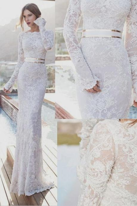 Elegant White Lace Mermaid Wedding Dress,Bodycon Long Sleeves Bridal Dress,Pretty Prom Dress
