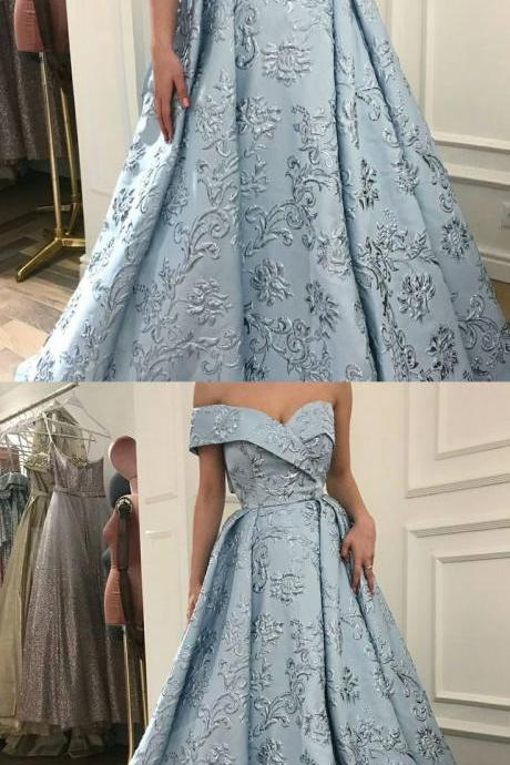 Unique Prom Dress A-Line Off-the-Shoulder Sweep Train Light Blue Printed Evening Dress