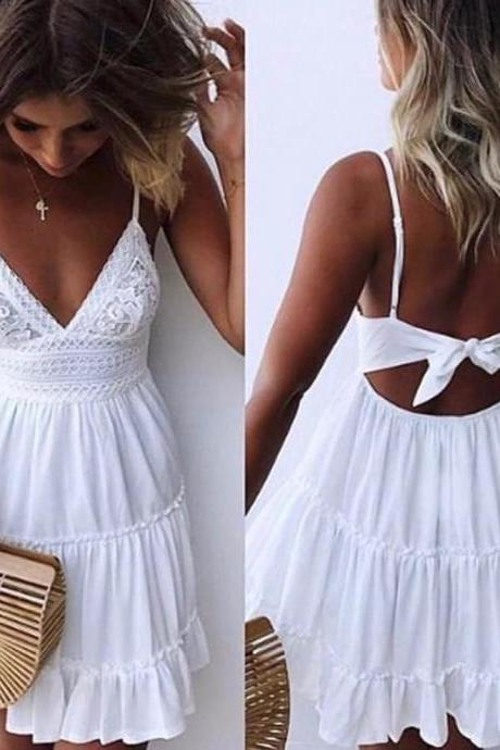A-Line Spaghetti Straps Backless White Homecoming Dress with Lace