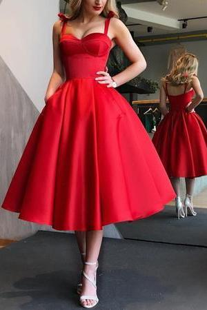 Spaghetti Straps Sweetheart Satin Ball Gowns Homecoming Dresses Tea Length