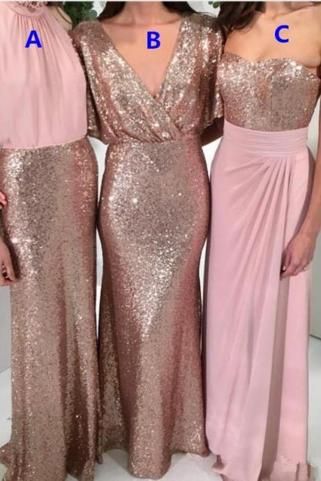 Shining Three Styles A-Line Sequin Bridesmaid Dresses Rose Gold with Pink Mermaid 2018 Custom Made Wedding Party Formal Gowns Maid of Honor