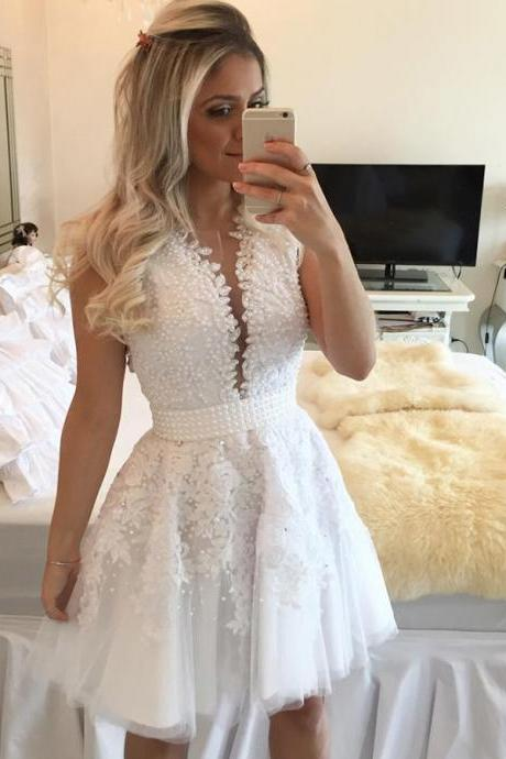 Beaded Lace Short White Prom Homecoming Cocktail Graduation Dresses