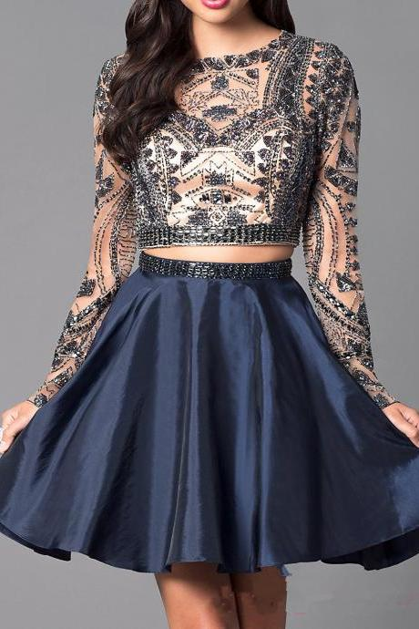 Luxury Beaded Navy Homecoming Dresses,Two Pieces Mini Prom Dress,Long Sleeves See Through Homecoming Gown
