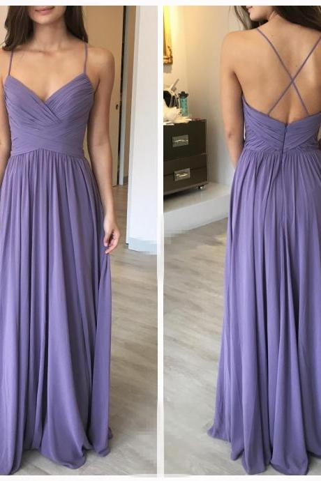 Elegant A-Line Purple Chiffon Long Bridesmaid Dress,Spaghetti Straps Simple Prom Dresses,Floor Length Party Gown