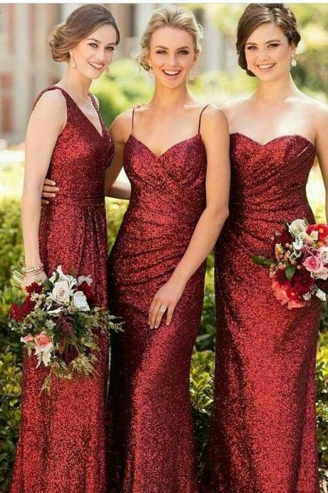 Burgundy Sequins Bridesmaid Dresses, Spaghetti Straps Bridesmaid Dresses, Custom Cheap Long Bridesmaid Dresses