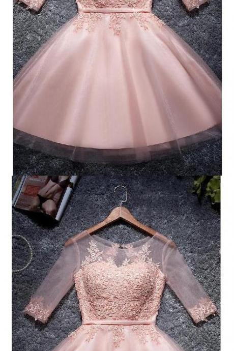 2018 Cute Blush Pink Lace Homecoming Dress,See Through Middle Sleeves Short Evening Dress