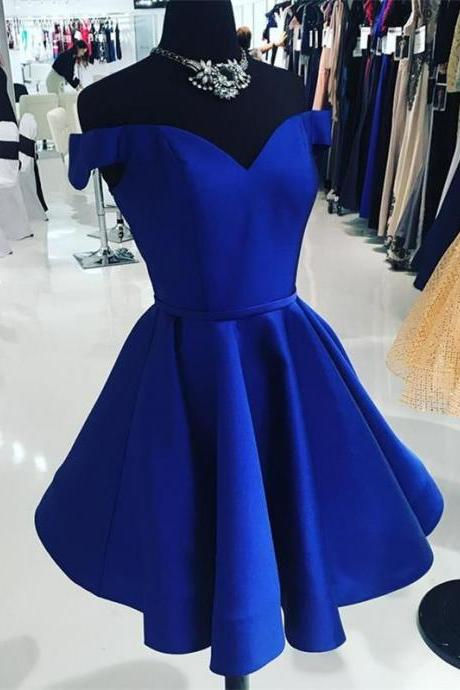 Royal Blue Short Homecoming Dresses Off the Shoulder Prom Dress