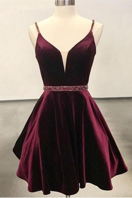Sexy Burgundy Spaghetti Straps Homecoming Dresses,Bead Belt A-Line Graduation Dresses