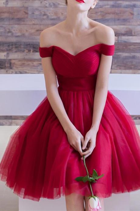 Elegant Red Tulle Off The Shoulder Homecoming Dresses,A-Line Pleated Homecoming Graduation Dresses