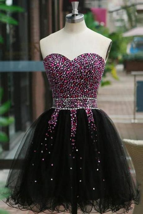 Luxury Beaded Black Tulle Homecoming Dresses,Sweetheart Beading Sleeveless Graduation Party Dress