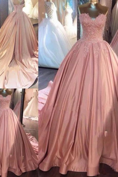 Luxury Pink Lace Strapless Prom Dress,Romantic Wedding Dress,Quinceanera Dress,Ball Gown with Long Train