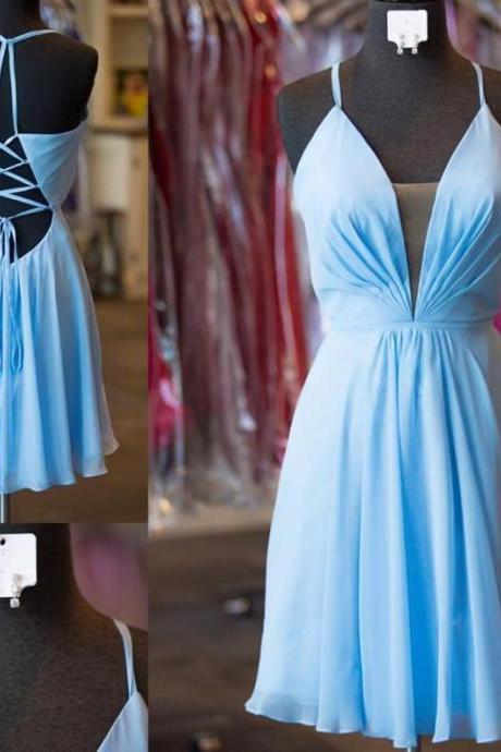Cute V-Neck Blue Chiffon Homecoming Dress,Open Back Short Party Dress,Mini Cute Dress