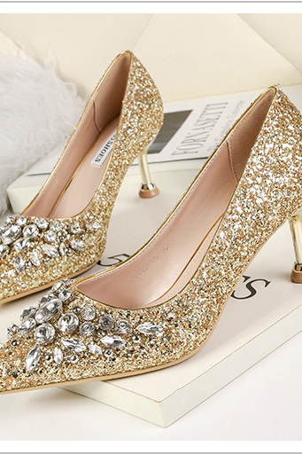 Shining Sequins High Heel Shoes,PU Party Shoes,Girls Shoes with 6.5 CM High Heels