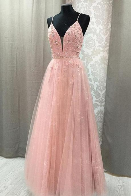 Blush V Neck Prom Dress with Straps, Long Prom Gown with Appliques