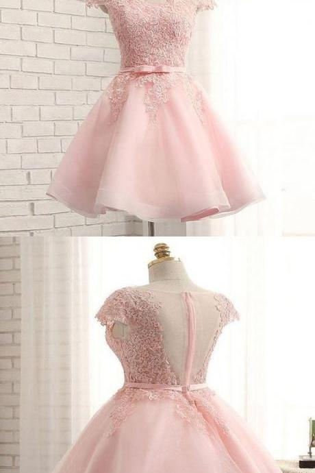 Fabulous Cap Sleeve Pink Lace Beaded Tulle Short Homecoming Prom Dresses