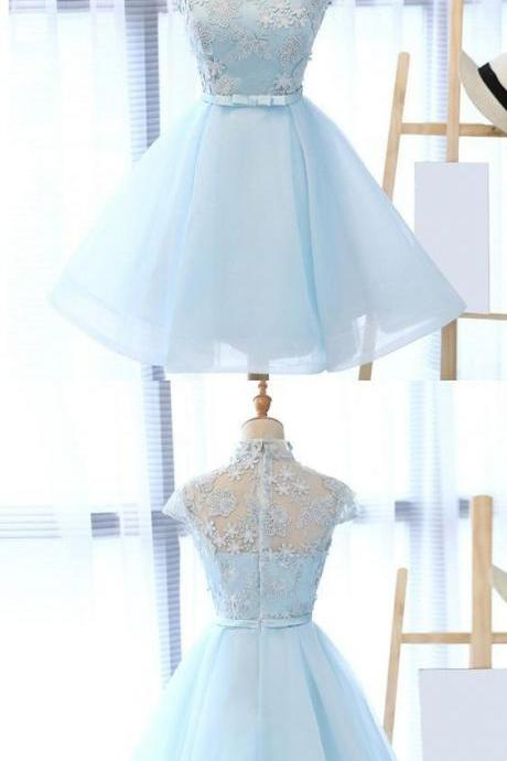 A-line High Neck Blue Tulle Homecoming Dress with Sash Appliques