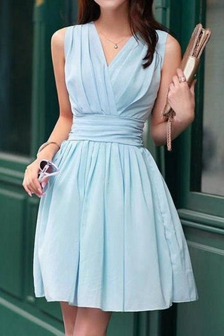 Light blue pleated homecoming dress