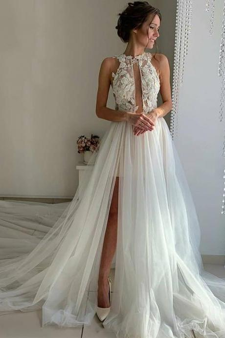 White tulle lace long prom dress, evening dress