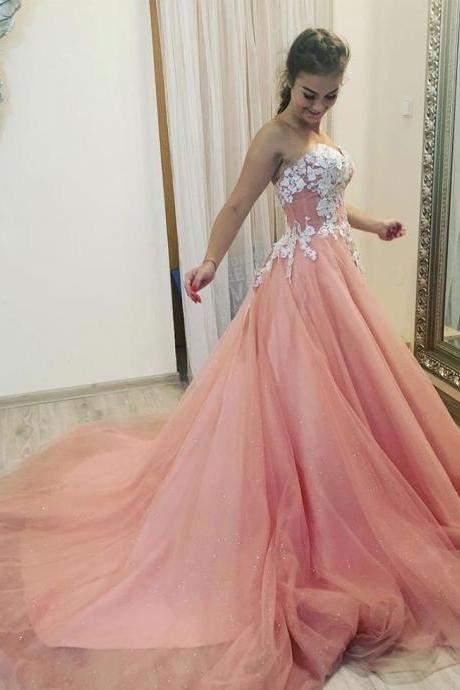 Pink tulle lace A line long prom gown pink evening dress