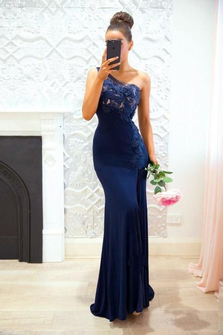 One shoulder lace prom dress, long evening dress