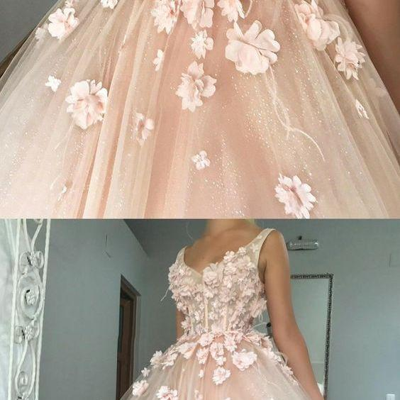 2018 New Style Light Pink Prom Dress,Handmade Appliques Flowers Evening Gown,V-Neck Sleeveless A-Line Quinceanera Dress,Prom Ball Gown