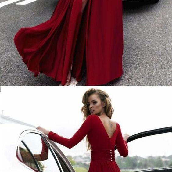 Charming Red Long Sleeves Prom Dress,V-Neck Sheath Evening Dress,Sexy Slit Prom Party Dress,Floor Length V-Back Formal Dress