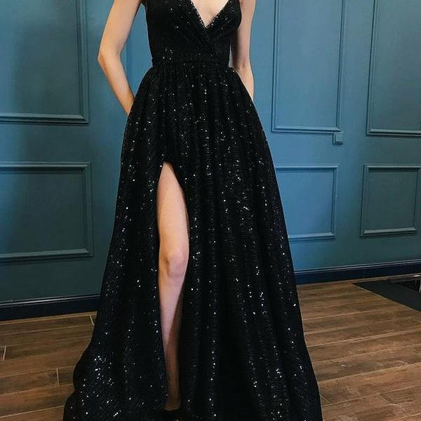Fashion luxury black sequins lace prom dress, special occasions dresses,spaghetti straps slit sexy evening prom gown