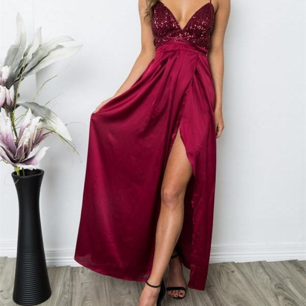 V-neck Sequined Burgundy Spaghetti Straps Split Front Prom Dresses,Sleeveless Sexy Evening Prom Dress,Special Occasion Gown