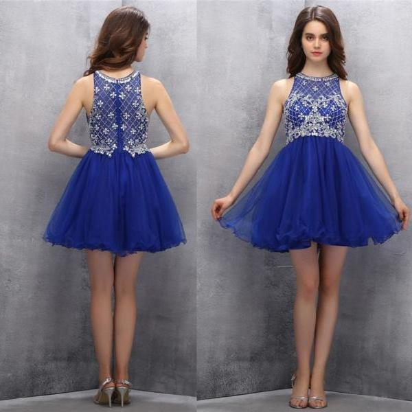 A-line Homecoming Dresses,Short Homecoming Dresses,Cute Homecoming Dresses,Beading Prom Gown,Royal Blue Prom Dresses,Sweet 16 Dress