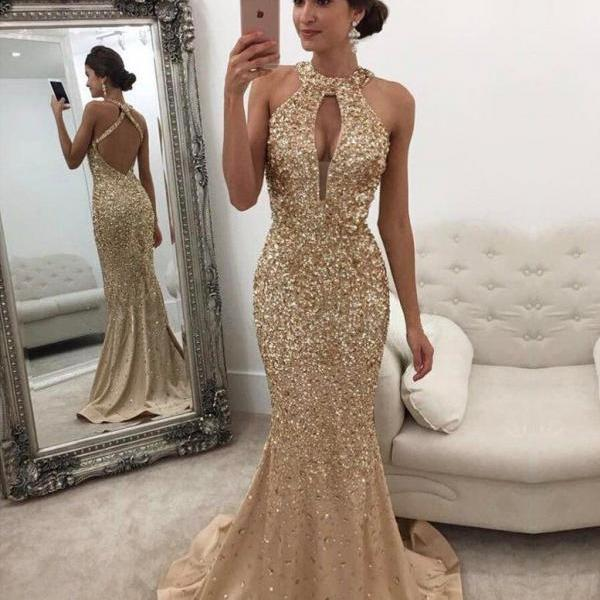 Sparkle Heavy Beaded Mermaid Open Back Inexpensive Long Prom Dresses