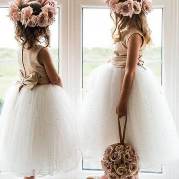 Precious White Tulle Flowers Girls Dress,Sleeveless Bowknot Cute Princess Girls Dress