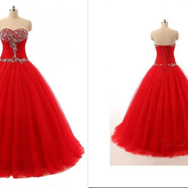 2018 Prom Dresses Ball-Gown Sweetheart Sweep Train Tulle Prom Dress With Ruffles Beading