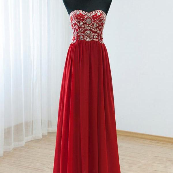 Red Beaded Embellished Sweetheart Floor Length Chiffon A-Line Prom Dress Featuring Sweep Train