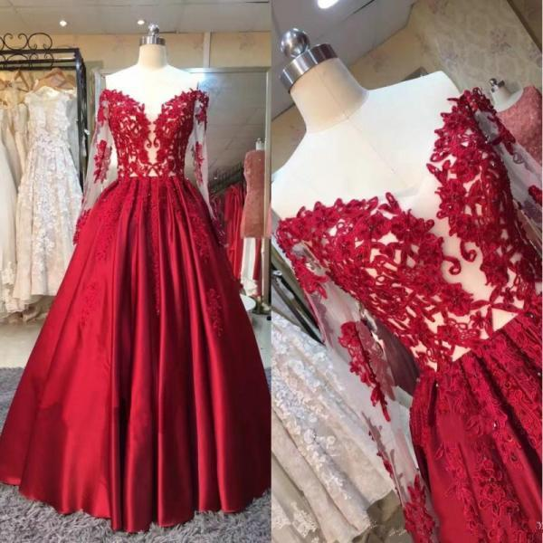 Gorgeous Red Lace Applique Off the Shoulder Long Sleeves Long Evening Prom Dresses