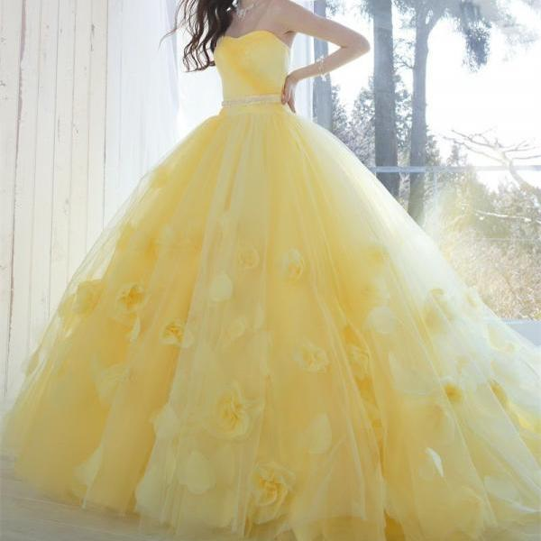 Elegant Yellow Strapless Long Prom Dress,Applique Flowers Evening Party Dresses