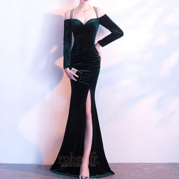 Dark Green Velvet Long Mermaid Prom Dress,Off the Shoulder Long Sleeves Evening Formal Dress