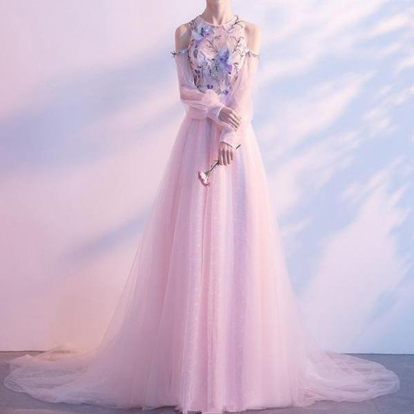 Elegant Pearl Pink Evening Dresses 2019 A-Line / Princess Scoop Neck Strapless Long Sleeve Appliques Lace Beading Rhinestone Chapel Train Ruffle Backless Formal Dresses