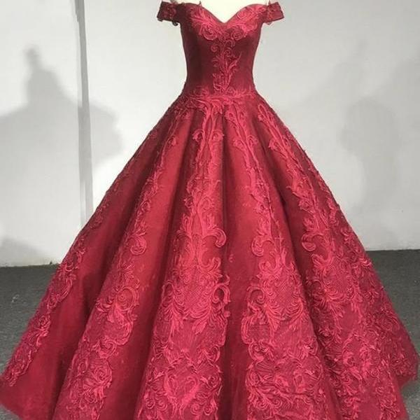 Customized Luscious Prom Dresses Red, Appliques Prom Dresses, Ball Gown Prom Dresses