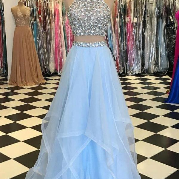 Colorful Prom Dress Short, Two Pieces Prom Dress, Light Blue Prom Dress, Blue Prom Dress