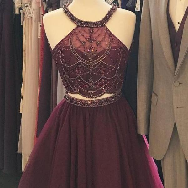 Dark Red Beaded Two Pieces Homecoming Dresses,Burgundy Halter Tulle MIni Homecoming Dress