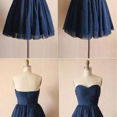 Navy Blue Chiffon Short Homecoming Dresses,Pleated Sweetheart Homecoming Dress